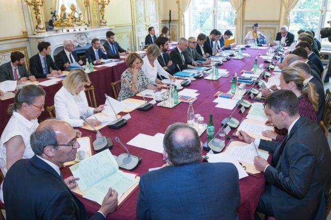 18/07/2017 : Conférence des Présidents, Hôtel de Lassay M. le Président François de Rugy, Mme Sabine Thillaye, Mme Brigitte Bourguignon, M. Eric Woerth